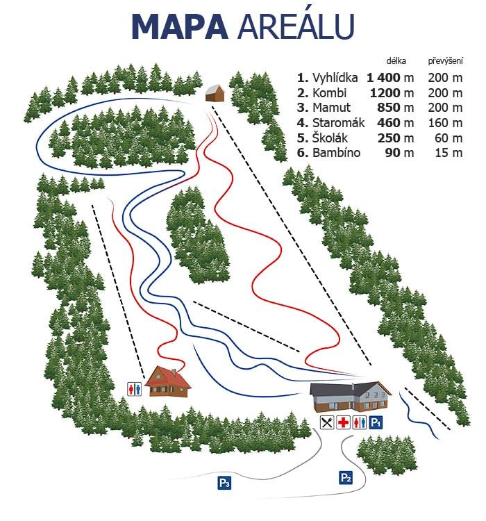 SKI Malenovice mapa areálu